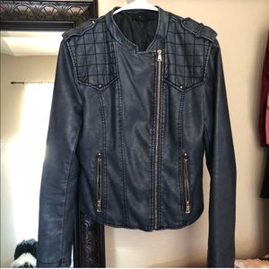 Navy blue faux leather jacket motto style